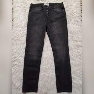 Free People Button Fly Dark Wash Jeans Raw Hem